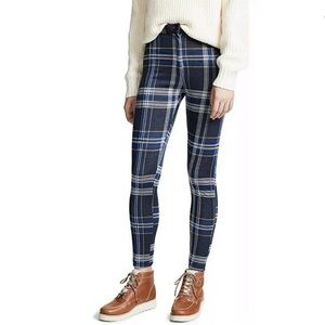 Free People Women's Carnaby Plaid Pants Blue